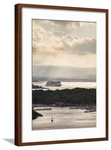 "Oslo, Østlandet, NOR: Cruise Ship Aidaluna, Oslo Harbor, ""Ekebergrestauranten"" Hillside Restaurant-Axel Brunst-Framed Art Print"