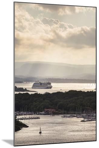 "Oslo, Østlandet, NOR: Cruise Ship Aidaluna, Oslo Harbor, ""Ekebergrestauranten"" Hillside Restaurant-Axel Brunst-Mounted Photographic Print"