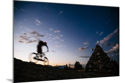 Mountain Biker Rides Into The Darkness After Sunset In The Tetons-Jay Goodrich-Mounted Photographic Print