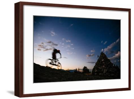 Mountain Biker Rides Into The Darkness After Sunset In The Tetons-Jay Goodrich-Framed Art Print