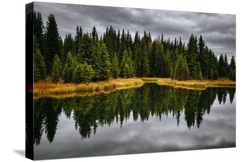An Autumn Reflection During Clearing Weather In The Tetons Near Jackson, Wyoming-Jay Goodrich-Stretched Canvas Print