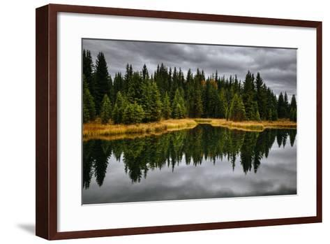 An Autumn Reflection During Clearing Weather In The Tetons Near Jackson, Wyoming-Jay Goodrich-Framed Art Print