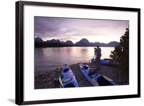 Sea Kayaking Jackson Lake In Grand Teton National Park, WY-Justin Bailie-Framed Art Print