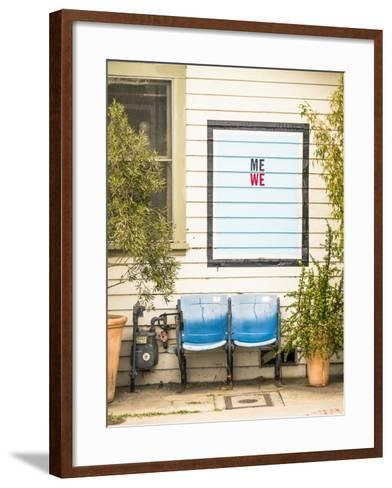Venice, California, USA: Two Seats In Front Of A House With A Hand Painted Sign Reading 'Me We'-Axel Brunst-Framed Art Print
