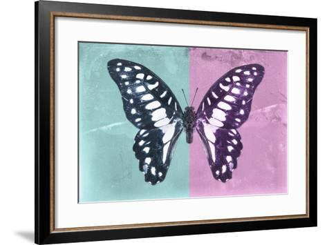Miss Butterfly Graphium Profil - Turquoise & Pink-Philippe Hugonnard-Framed Art Print