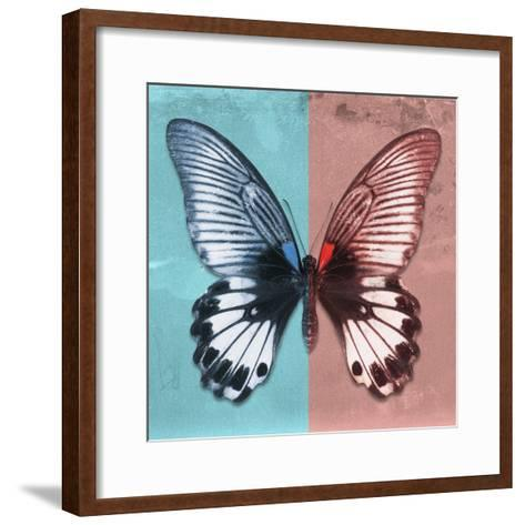 Miss Butterfly Agenor Sq - Turquoise & Red-Philippe Hugonnard-Framed Art Print