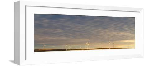 Sunset Light Shining On Wind Turbines Spinning In A Wheat Field-Greg Winston-Framed Art Print