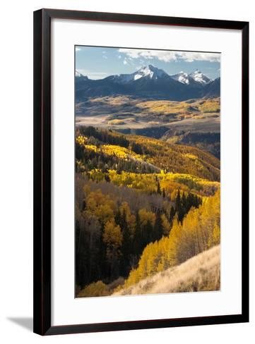 Mount Wilson In The Snow Capped San Juan Mountains Flanked By Fall Colored Aspen Forests-Greg Winston-Framed Art Print