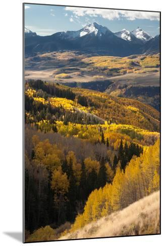 Mount Wilson In The Snow Capped San Juan Mountains Flanked By Fall Colored Aspen Forests-Greg Winston-Mounted Photographic Print