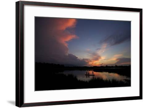 Illegal Fishermen On The Brahmaputra River At Sunset-Steve Winter-Framed Art Print