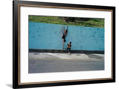 Classical Ballet In The Colonial Streets Of Old Havana-Kike Calvo-Framed Art Print