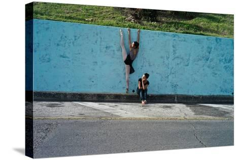 Classical Ballet In The Colonial Streets Of Old Havana-Kike Calvo-Stretched Canvas Print