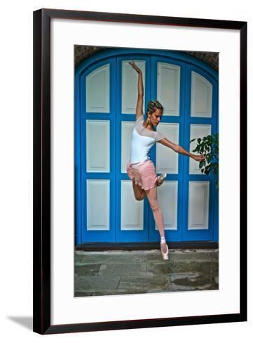 Ballet In The Colonial Streets Of Old Havana-Kike Calvo-Framed Art Print