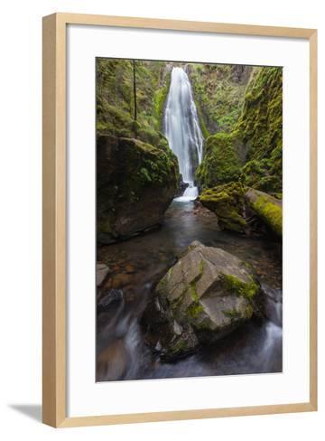 A Boulder At Susan Creek Falls Surrounded By Lush Vegetation-Greg Winston-Framed Art Print