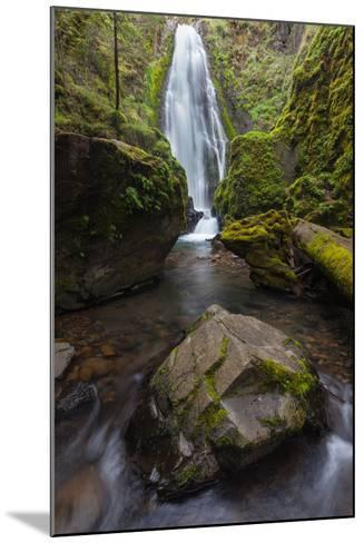 A Boulder At Susan Creek Falls Surrounded By Lush Vegetation-Greg Winston-Mounted Photographic Print