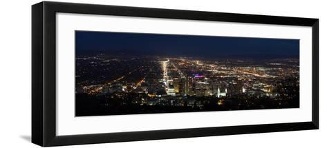 A Wide View Of Salt Lake City At Night With The Capital And Mormon Cathedral In The Foreground-Greg Winston-Framed Art Print