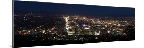 A Wide View Of Salt Lake City At Night With The Capital And Mormon Cathedral In The Foreground-Greg Winston-Mounted Photographic Print