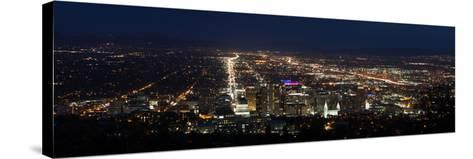 A Wide View Of Salt Lake City At Night With The Capital And Mormon Cathedral In The Foreground-Greg Winston-Stretched Canvas Print