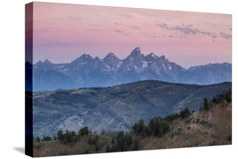 Sunrise Lighting Clouds Over The Teton And Gros Ventre Mountains, Bridger-Teton NF, Wyoming-Mike Cavaroc-Stretched Canvas Print