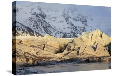 View Of Svinafellsjokull Glacier At Sunset. Vatnajokull National Park. Iceland-Oscar Dominguez-Stretched Canvas Print