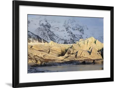 View Of Svinafellsjokull Glacier At Sunset. Vatnajokull National Park. Iceland-Oscar Dominguez-Framed Art Print
