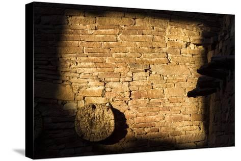 Light On The Walls At Pueblo Bonito Create An Abstract Photo In Chaco Culture NHP, New Mexico-Mike Cavaroc-Stretched Canvas Print