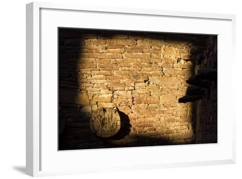 Light On The Walls At Pueblo Bonito Create An Abstract Photo In Chaco Culture NHP, New Mexico-Mike Cavaroc-Framed Art Print