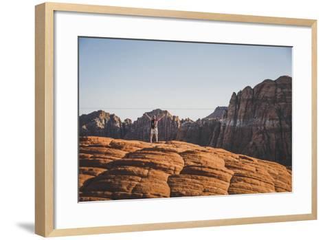 Jacki Arevalo Hiking The Petrified Sand Dunes, Snow Canyon State Park, Utah-Louis Arevalo-Framed Art Print