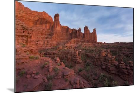 Stars Emerging Above Hikers Hiking Out Of The Fisher Towers, Moab, Utah-Mike Cavaroc-Mounted Photographic Print