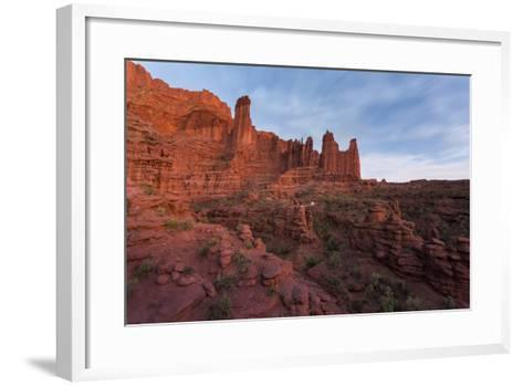 Stars Emerging Above Hikers Hiking Out Of The Fisher Towers, Moab, Utah-Mike Cavaroc-Framed Art Print