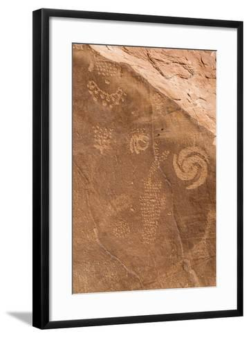 Petroglyph Shapes And Figures Carved Into Sandstone, Dinosaur National Monument-Mike Cavaroc-Framed Art Print