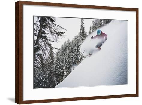 Mali Noyes Takes Advantage Of A April Snow Storm, Alta, Utah-Louis Arevalo-Framed Art Print