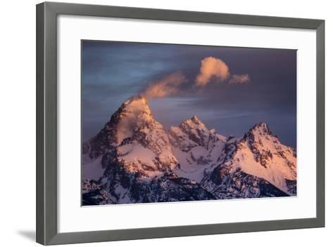 Wind And Snow Blow From The Highest Altitudes On The Grand Teton In Grand Teton NP, Wyoming-Mike Cavaroc-Framed Art Print