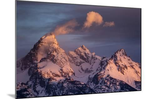 Wind And Snow Blow From The Highest Altitudes On The Grand Teton In Grand Teton NP, Wyoming-Mike Cavaroc-Mounted Photographic Print