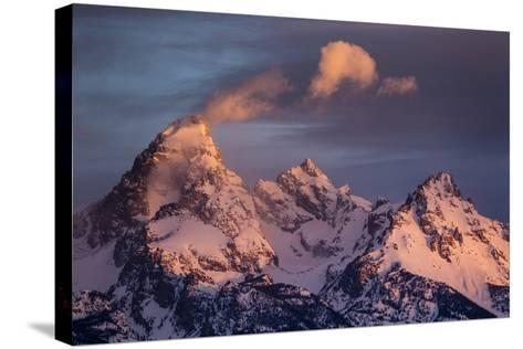 Wind And Snow Blow From The Highest Altitudes On The Grand Teton In Grand Teton NP, Wyoming-Mike Cavaroc-Stretched Canvas Print