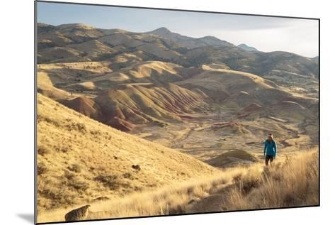 Bekah Herndon Hiking Along Carroll Rim Trail, John Day Fossil Beds National Monument Eastern Oregon-Ben Herndon-Mounted Photographic Print