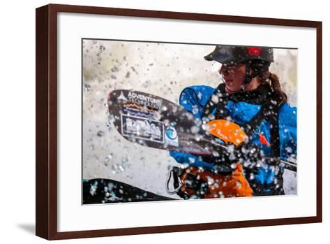 A Female Kayaker Playboating In A Drysuit On Pipeline Wave On The Lochsa River In Idaho-Ben Herndon-Framed Art Print