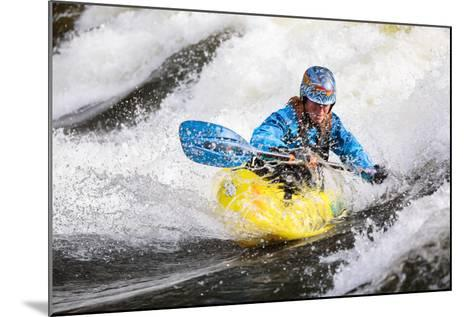 A Female Kayaker Playboating In A Drysuit On Pipeline Wave On The Lochsa River In Idaho-Ben Herndon-Mounted Photographic Print