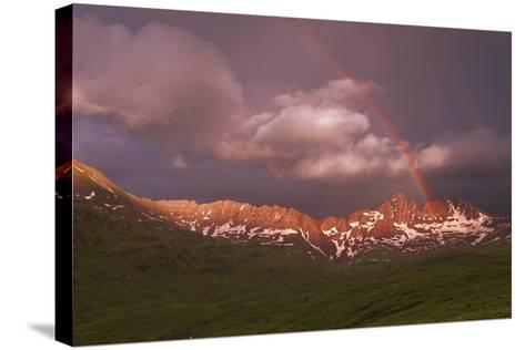 Rainbow Over Belleview Mt & Fravert Basin, While Backpacking Four Pass Loop, Near Aspen Colorado-Austin Cronnelly-Stretched Canvas Print