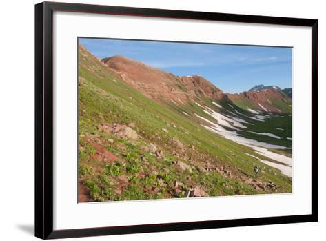 Male Backpacking Out Of Fravert Basin Towards Frigid Air Pass Along 4 Pass Loop, Aspen, Colorado-Austin Cronnelly-Framed Art Print