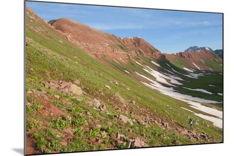 Male Backpacking Out Of Fravert Basin Towards Frigid Air Pass Along 4 Pass Loop, Aspen, Colorado-Austin Cronnelly-Mounted Photographic Print