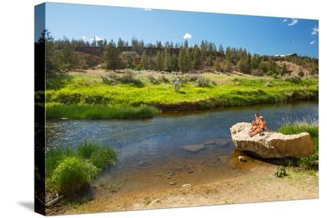 Women Cool Off At Crooked River After Hiking Misery Ridge Loop At Smith Rock State Park, Oregon-Ben Herndon-Stretched Canvas Print