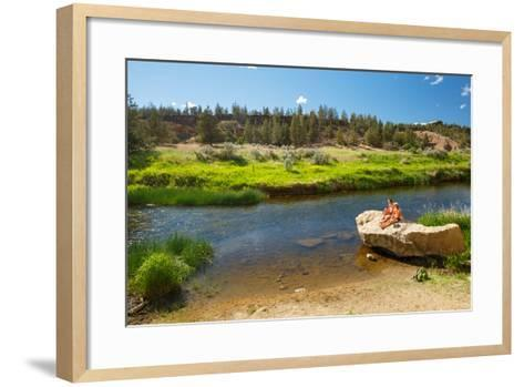 Women Cool Off At Crooked River After Hiking Misery Ridge Loop At Smith Rock State Park, Oregon-Ben Herndon-Framed Art Print