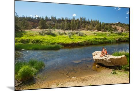 Women Cool Off At Crooked River After Hiking Misery Ridge Loop At Smith Rock State Park, Oregon-Ben Herndon-Mounted Photographic Print
