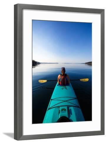 A Female Tandem Kayaker Enjoys The Still Waters Of Indian Cove Off Shaw Islands-Ben Herndon-Framed Art Print