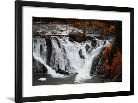 The 30 Foot Lewis Falls In Yellowstone National Park In Autumn-Ben Herndon-Framed Art Print