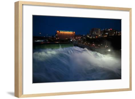 Spokane Falls At High Spring Flow Near Dwtn Spokane, WA Seen From Near Monroe Street Bridge At Dusk-Ben Herndon-Framed Art Print