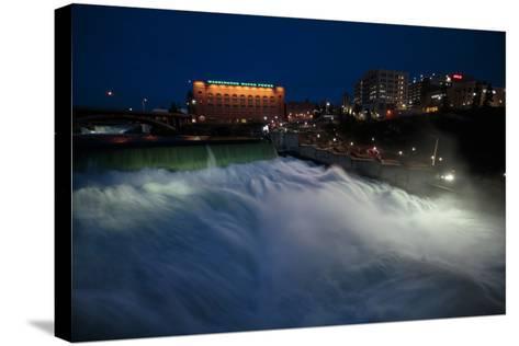 Spokane Falls At High Spring Flow Near Dwtn Spokane, WA Seen From Near Monroe Street Bridge At Dusk-Ben Herndon-Stretched Canvas Print