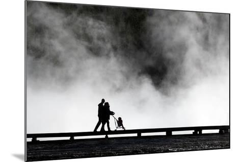 Couple Push Their Baby On Boardwalk At Grand Prismatic Spring In Yellowstone NP In Autumn-Ben Herndon-Mounted Photographic Print