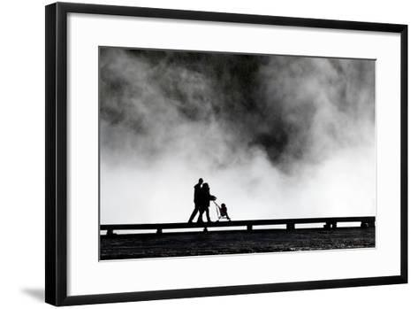 Couple Push Their Baby On Boardwalk At Grand Prismatic Spring In Yellowstone NP In Autumn-Ben Herndon-Framed Art Print